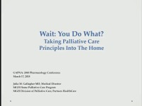 Wait: You Do What at Home? Taking Palliative Care Principles into the Home